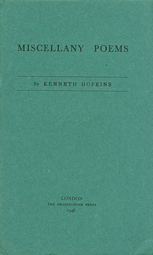 Miscellany Poems. Kenneth Hopkins.