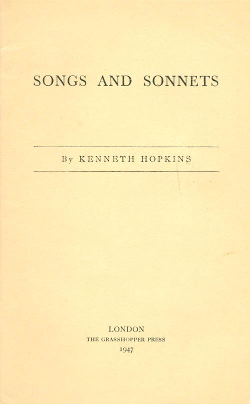 Songs and Sonnets. Kenneth Hopkins.