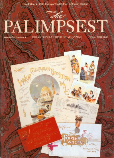 The Palimpsest - Volume 74 Number 4 - Winter 1993. Ginalie Swaim.