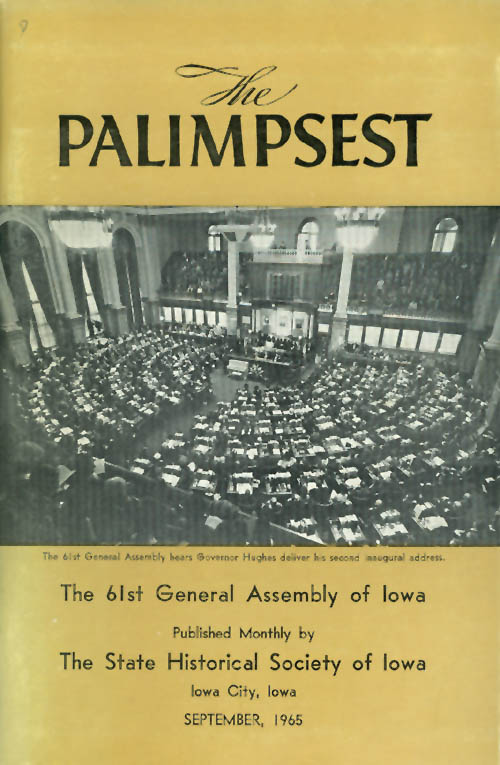 The Palimpsest - Volume 46 Number 9 - September 1965. William J. Petersen.