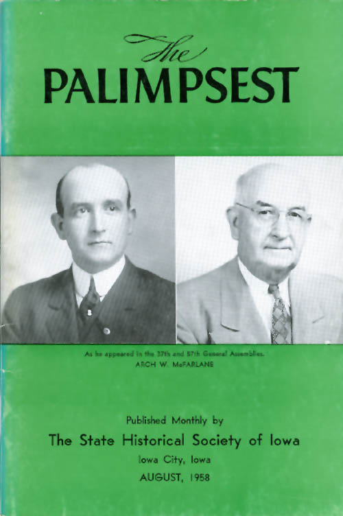 The Palimpsest - Volume 39 Number 8 - August 1958. William J. Petersen.