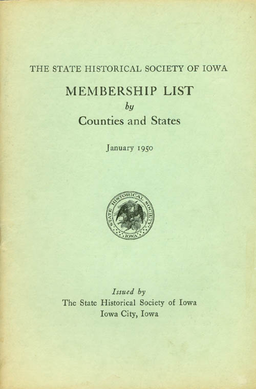 Membership List by Counties and States January 1950. State Historical Society of Iowa.