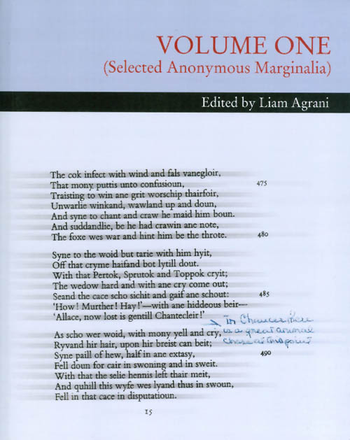 VOLUME ONE (Selected Anonymous Marginalia). Liam Agrani.