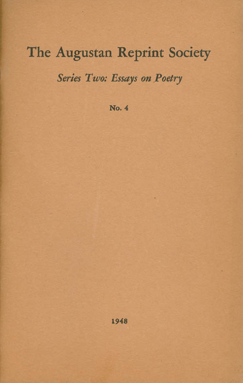 Series Two: Essays On Poetry No. 4: A Full Enquiry into the True Nature of Pastoral (1717). Thomas Purney, Earl Wasserman, introduction.