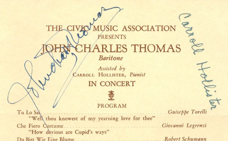 The Civic Music Association Presents John Charles Thomas, Baritone, Assisted by Carroll Hollister, Pianist, in Concert (Program). Anonymous.