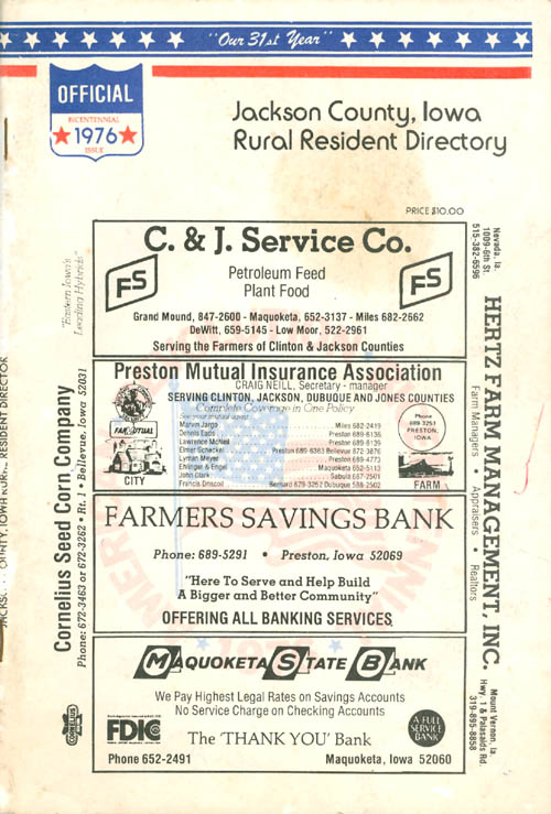Jackson County, Iowa Rural Resident Directory - 1976. Directory Service Company.