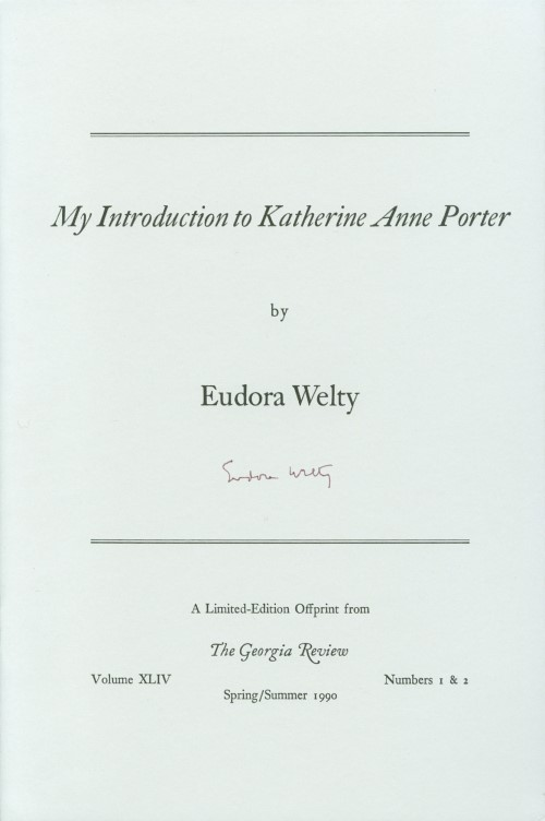 My Introduction to Katherine Anne Porter. Eudora Welty.