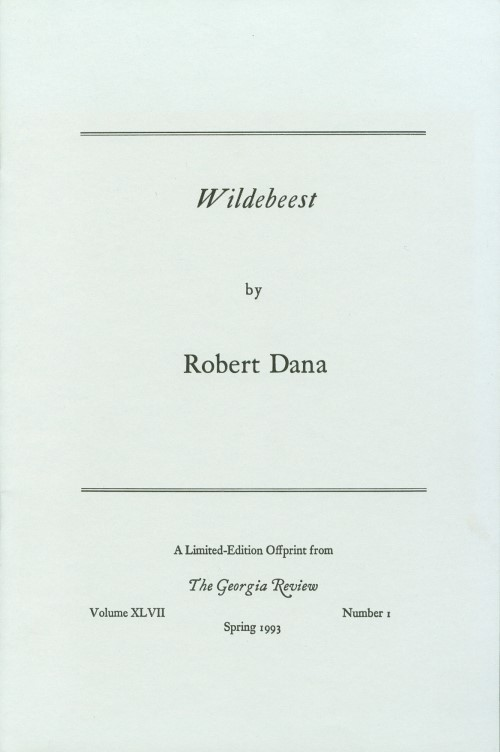 Wildebeast. Robert Dana.