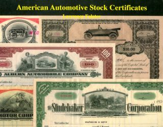 American Automotive Stock Certificates: A Collectors' Guide with Values. Lawrence Falater