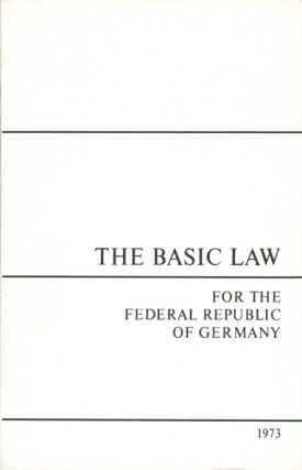 Basic law for the Federal Republic of Germany, promulgated by the Parliamentary Council on 23 May...