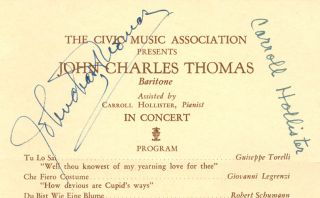 The Civic Music Association Presents John Charles Thomas, Baritone, Assisted by Carroll...